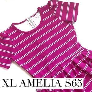 LulaRoe XL Amelia Pink with White Stripes
